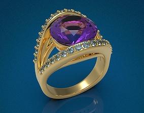 printable Big Gemstone Ring 3D print model
