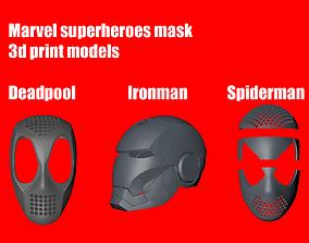 3D model Marvel superheroes masks helmet