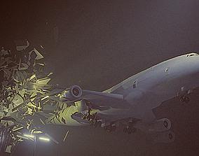 3D animated blender eevee plane crash animation scene