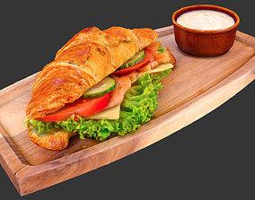 pastry Croissant 3D asset realtime