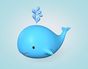 Cartoon Whale 3D model low-poly