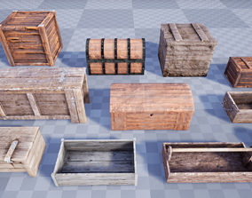 3D asset Collection of Medieval Chests and Crates