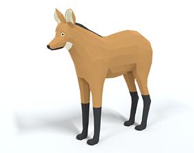 Low Poly Cartoon Maned Wolf 3D asset