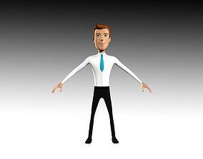 Jhon Cartoon Business Man 3D model rigged