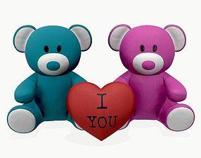3D two teddy bear plush toys with heart