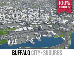 3D asset Buffalo - city and surroundings