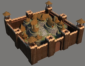 Barbarian Village 3D asset