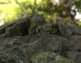 3D asset Moss-Base Rock Pack PBR Low Poly