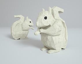 Low Polygon Paper Squirrel 3D model