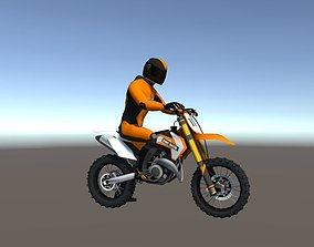 Low Poly Dirt Bike With Rider-1 3D model