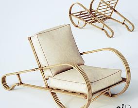 3D model Fourstrand Rattan-Lounger Armchair