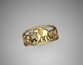 3D print model ring elephants