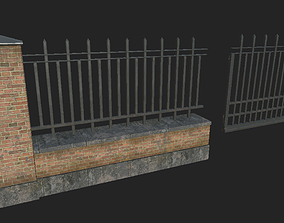 Brick Metal Fence 3D asset