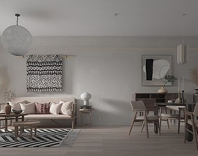 3D Living and Dining Room Interior 2 apartment