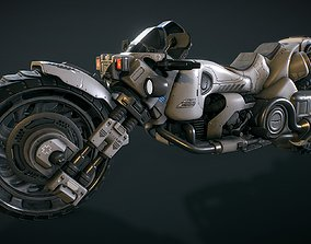 Futuristic motorcycle 3D model game-ready