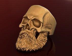 3D print model Gold Beard Skull Ring for Men