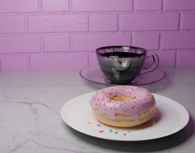 3D model Donut Food Interior For Game A cup of coffee PBR