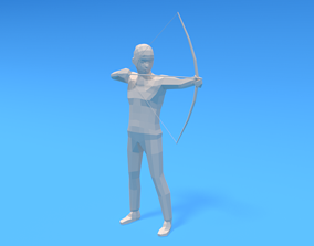 3D asset Low Poly Archer Kid