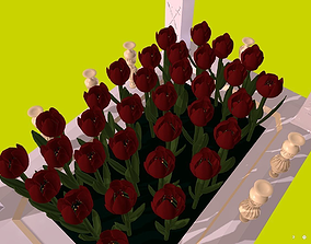 3D model Flowers - Red Tulips in the flowerbed