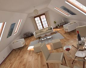 3D model Attic Living Room Scene