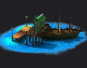 Pirate ships cartoon shipyards docks sailboats 3D model