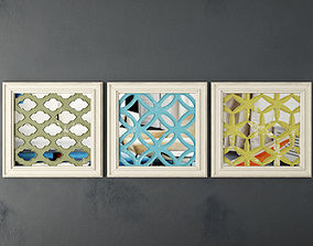 3D Lattice Square Wood Panel Wall Art