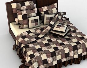 Double Bed Bed Linen cotton 3D model