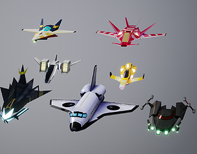 3DP Lowpoly Spaceships Collection VR / AR ready