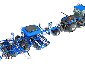 3D model New Holland Tractor with Seed Drill
