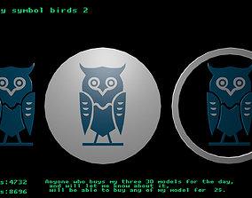 3D asset Low poly symbol birds 2