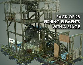3D model PACK OF 28 FISHING ELEMENTS WITH A STAGE