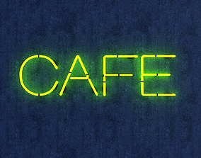 3D asset Cafe Neon Sign