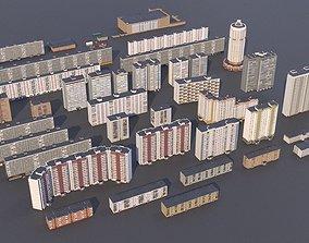 Russian buildings pack 3D model