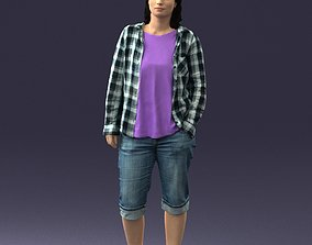 Girl in shorts and a plaid shirt 0266 3D