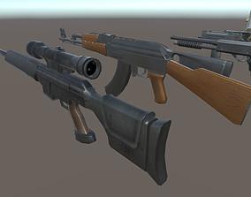 Ak47 Bat Glock Grenade Knife M4 Molotov 3D asset 2