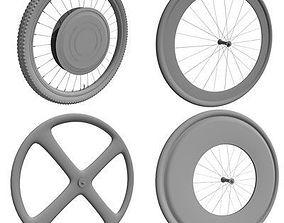 Detailed set of 4 Bike Wheels 3D model