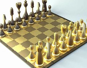 3D printable model Striped chess set with board