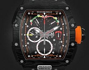 3D Richard Mille RM 50-03 Watch With Orange Strap
