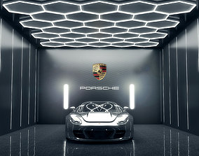 Car studio interior - render lighting storage 3D