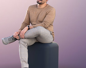 11015 Sahir - Smiling Man Sitting With Crossed 3D model 1