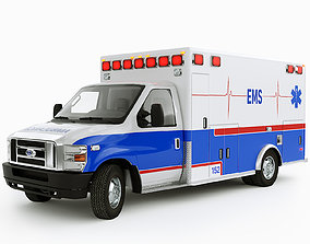 Ford E-Series Ambulance with Interior 3D