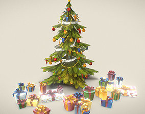 3D model Christmas Tree and Presents - Handpainted