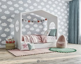 3D model Children bed with decor