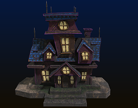 Cartoon style low poly Haunted house 3D asset
