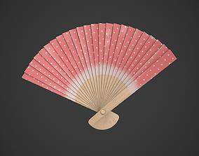 Spotty Red Wooden Handheld Fan 3D asset