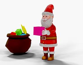 Fur Cartoon Santa Claus Rigged 3D asset