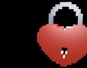3D model Lock heart voxel