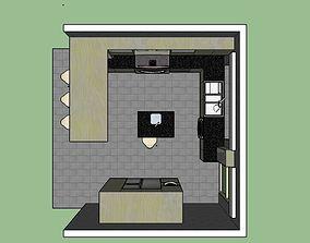 Kitchen design American style 3D model