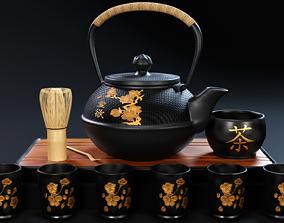 3D model Oriental Tea Set - Teapot and Cups