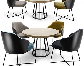 3D Minotti Leslie Dining chair Round Table